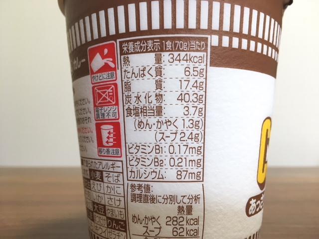 あっさり少なめカレー味の栄養成分表示
