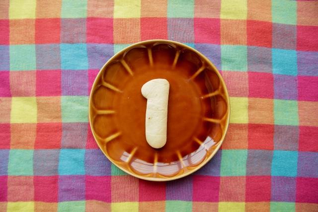 「1」と書かれたお皿