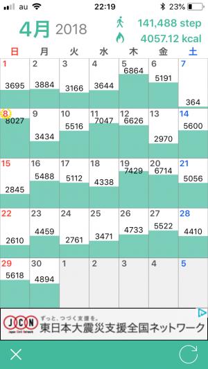 歩数計アプリのカレンダー