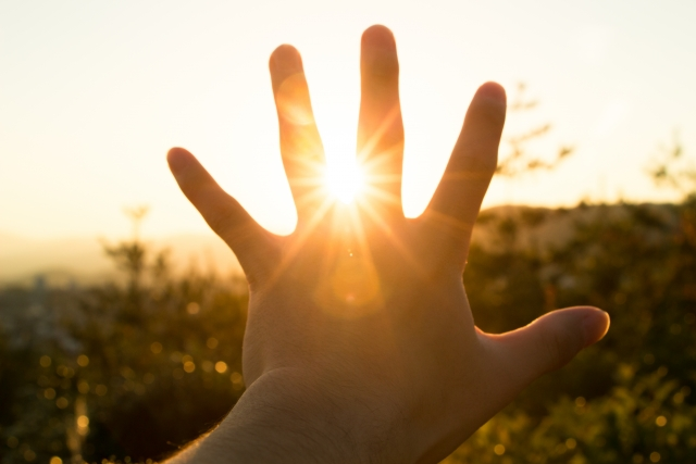 希望の光に手をかざす
