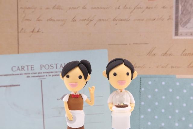 ウエイトレス&ウエイターの粘土人形